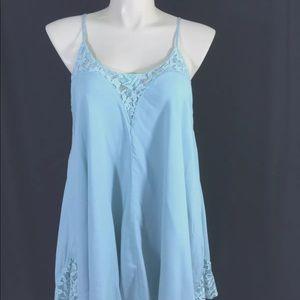 NEW Tobi Slip Dress XL Blue Lace Asymmetric Sexy